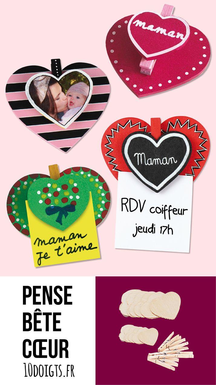 Pense bête cœur en bois. Activité facile pour les enfants. Idéal pour cadeau fête des mères/pères. #bricolage #cadeau #papa #maman