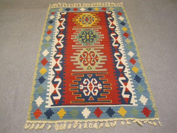 Vintage Turkish Handwoven Wool Egean Area by turkishkilimmarket, $265.00