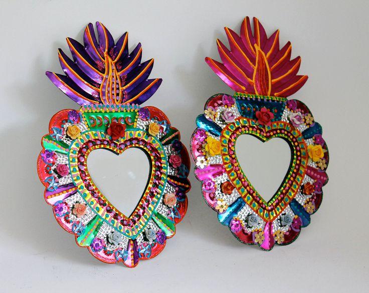 Sacred Heart tin metal mirror / Mexican folk art / bright colorful mixed media / rainbow silver / wedding gift.
