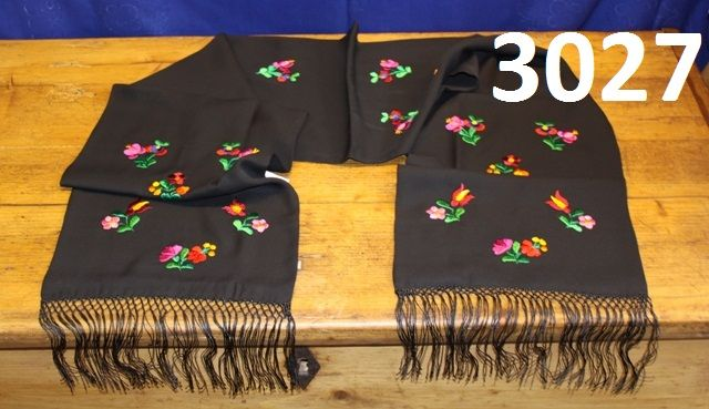 Black scarf from Matyóland, Hungary. Hand.embroidered with flower pattern. 150x30 cm.