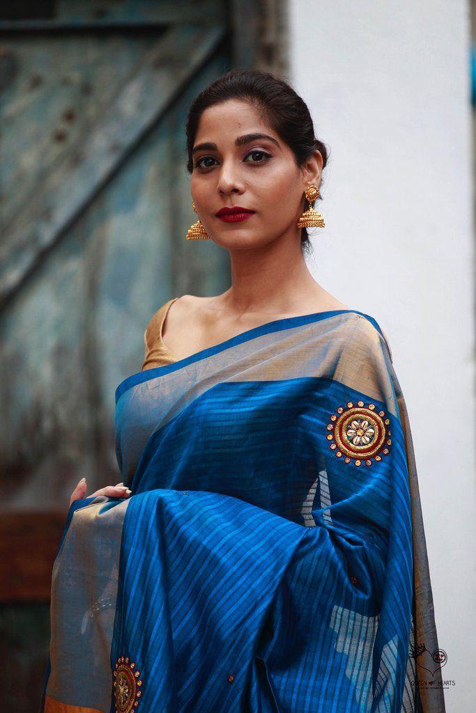 Turquoise Blue Dhoop Chhaon Kundalam Kanjivaram Silk Cotton Saree