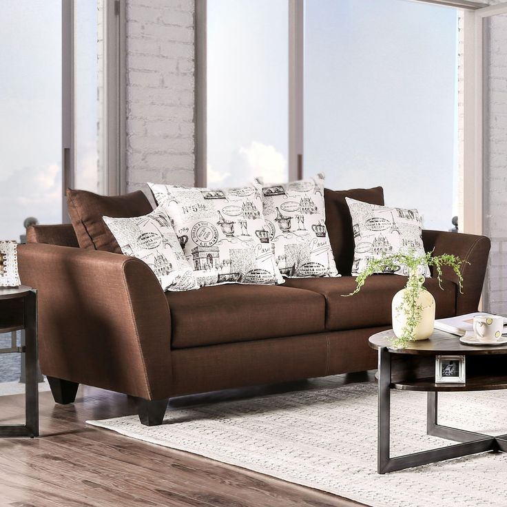 Werner Contemporary Fabric Chocolate Sofa by Furniture of America (Chocolate), Brown