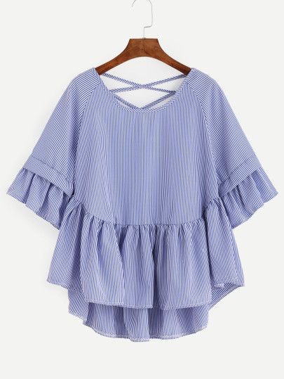 Shop Blue Striped Criss Cross Back Ruffle Blouse online. SheIn offers Blue Striped Criss Cross Back Ruffle Blouse & more to fit your fashionable needs.