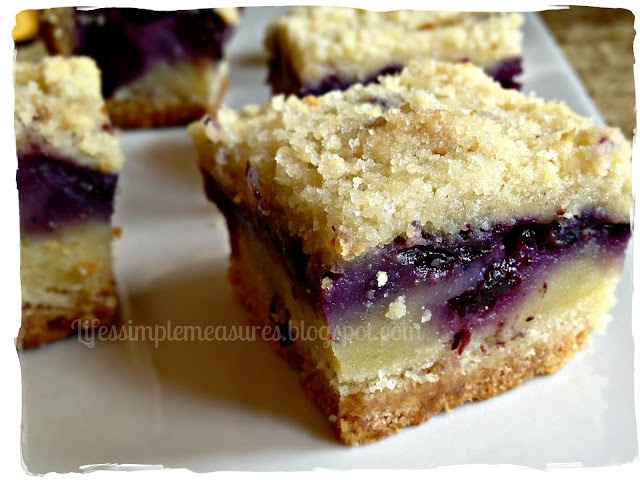 Blueberry Pie Bars - so good.. very moist like a cross between a crumble and a bar.  Left out 1/4 of the sugar in the filling and it's still very good.  Think I could have left some of the sugar out from the crust too, only because I'm always looking to save calories not because it's super sweet.