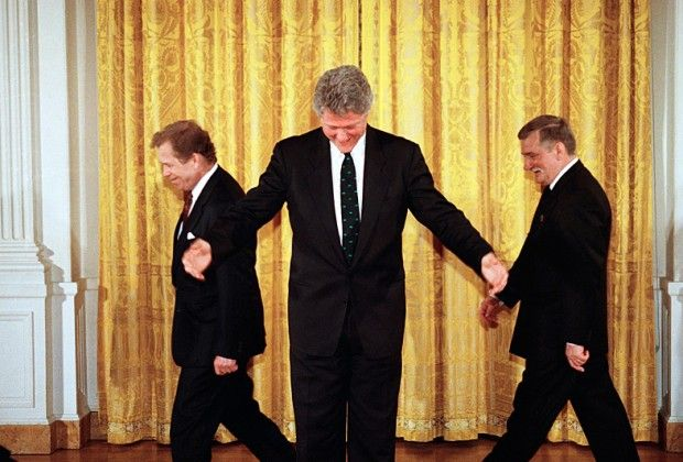 Lech Wałęsa, Bill Clinton and Vaclav Havel in the White House, April 21, 1993