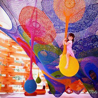 crocheted net playground  by Toshiko Horiuchi MacAdam,  Hakone Sculpture Park,  Sapporo, Japan