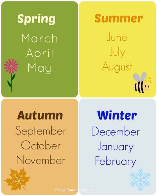 Teaching the Seasons and Months, Free Printable