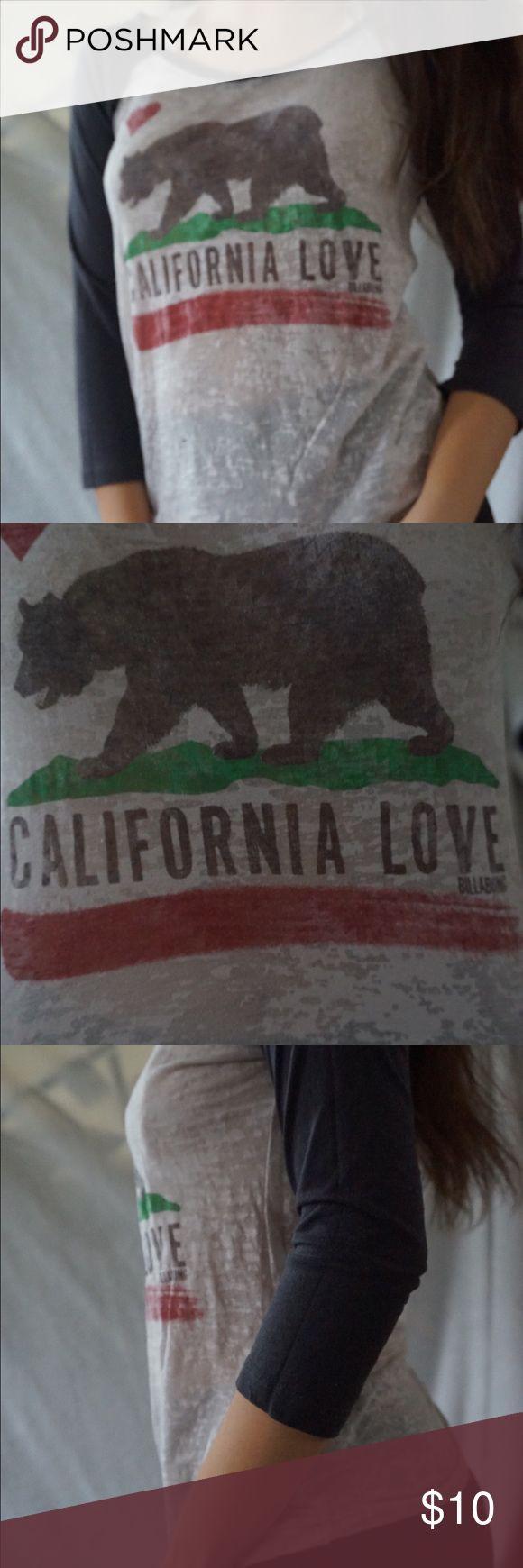 Billabong California flag baseball t-shirt Thin see through material, with a print of the California flag. Baseball T style Billabong Tops Tees - Long Sleeve