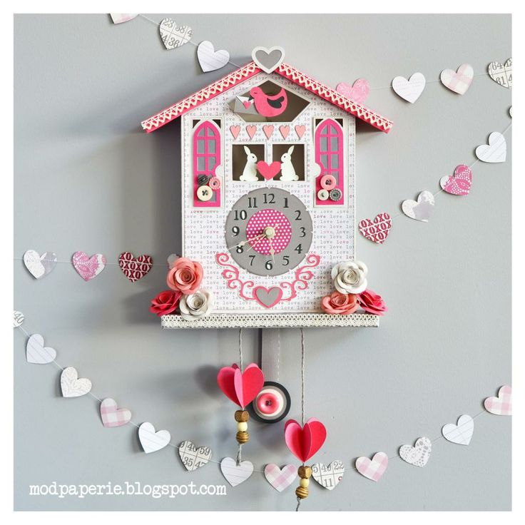 "Another amazing project from Thienly, her ""Cuckoo Over You Valentine Clock"".    Display as you see here or as Thienly says, change it to a winter theme or any any theme you like!  The main piece is made using the House Base from SANTA""S VILLAGE ADVENT CALENDAR SVG KIT.  For full instructions and a list of the other kits she used, check it out here:   http://svgcuts.com/blog/2014/01/29/cuckoo-over-you-valentine-clock-by-thienly-azim/"