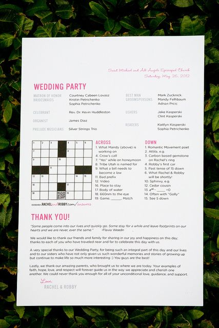 Crossword puzzle in program. Page also has a great way to incorporate Scrabble into centerpieces.