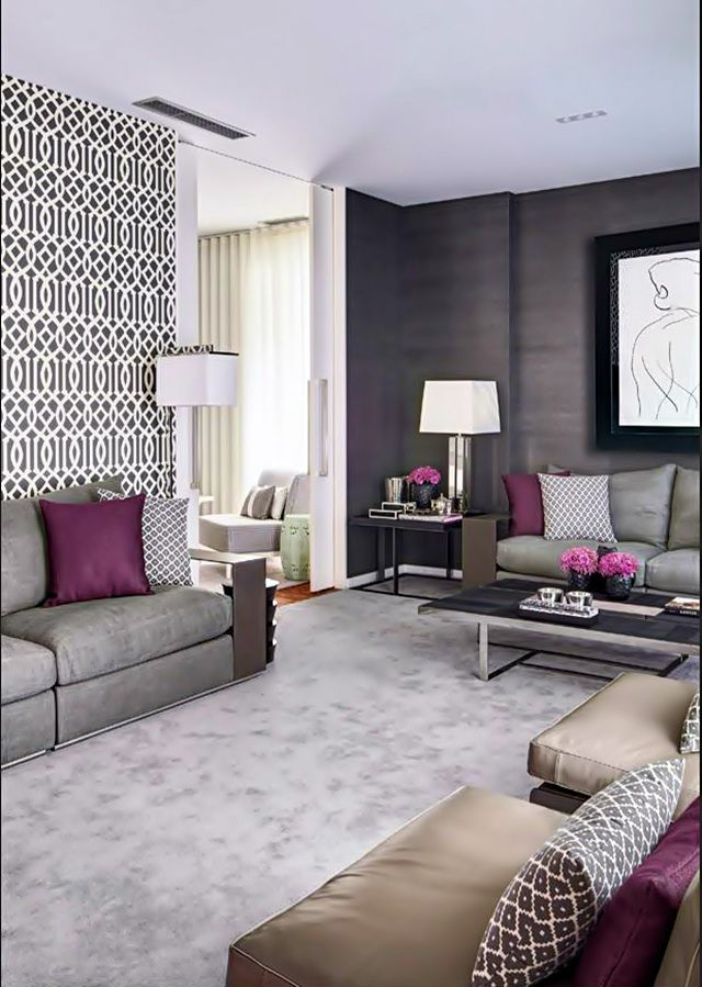 Grey living room with a touch of plum .. details to contrast and make it colourful and stylish!