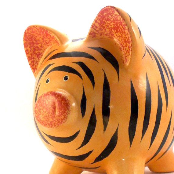 #Tiger Personalized Ceramic #PiggyBank by #ThePigPen, $42.50