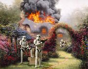 """Stormtroopers and other classic villains invade Thomas Kinkade Paintings in Jeff Bennett's """"Wars on Kinkade"""" series"""