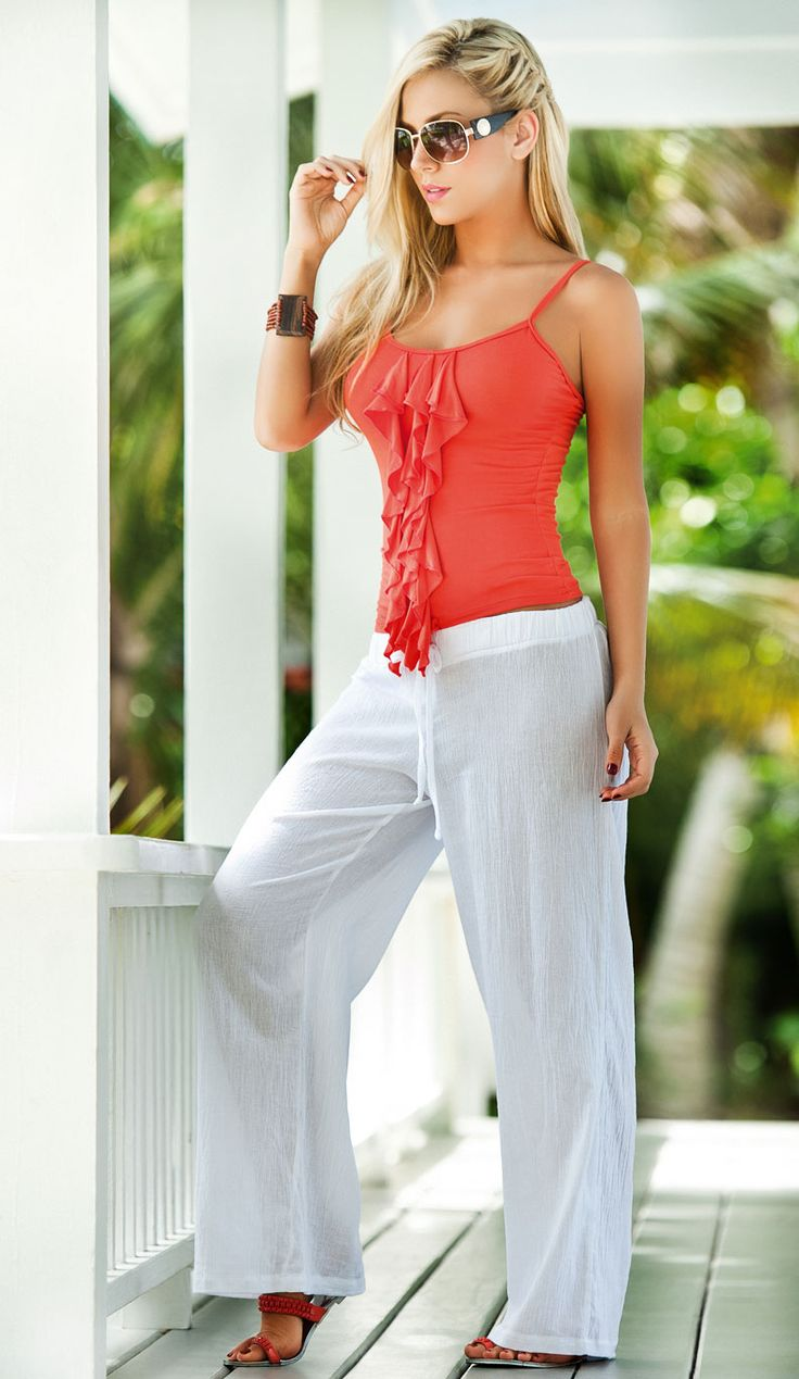 Amazing Womens White Beach Pants Cotton Natural Classic Hand Picked Organic