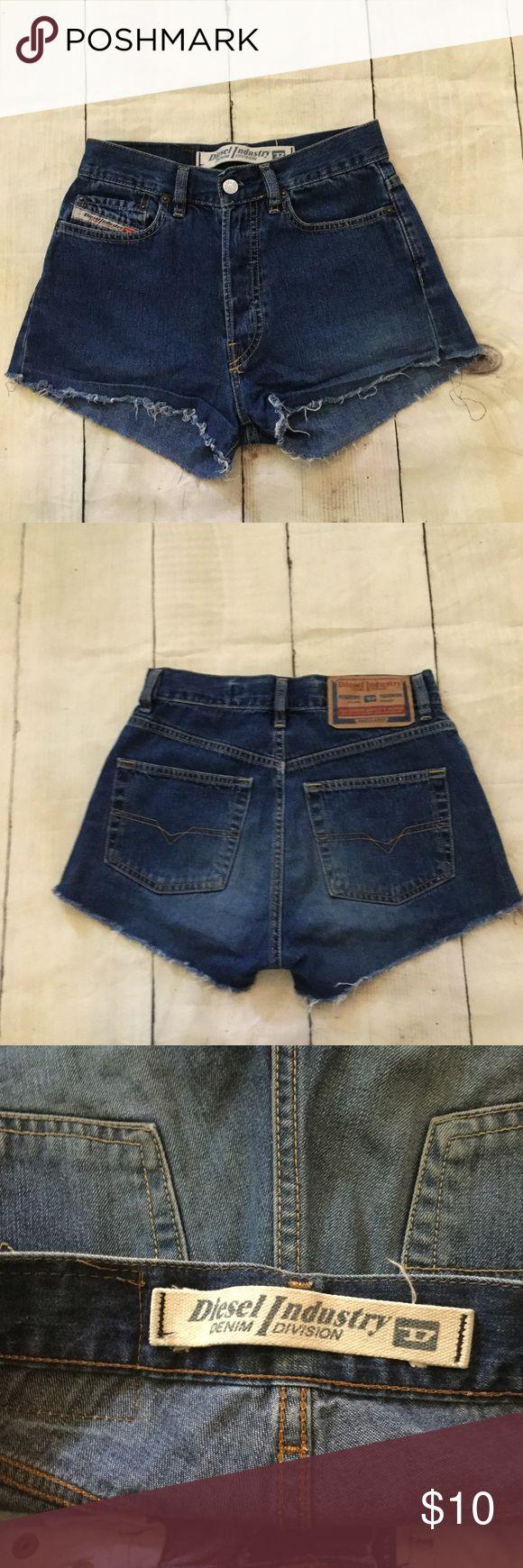"Diesel Denim Cut Off Shorts Blue Jean High Waist Diesel high Waisted Denim Cut Off Shorts Blue Jean. Size 27. Waist: 28"",  rise: 11"", inseam: 2"" Diesel Shorts Jean Shorts"