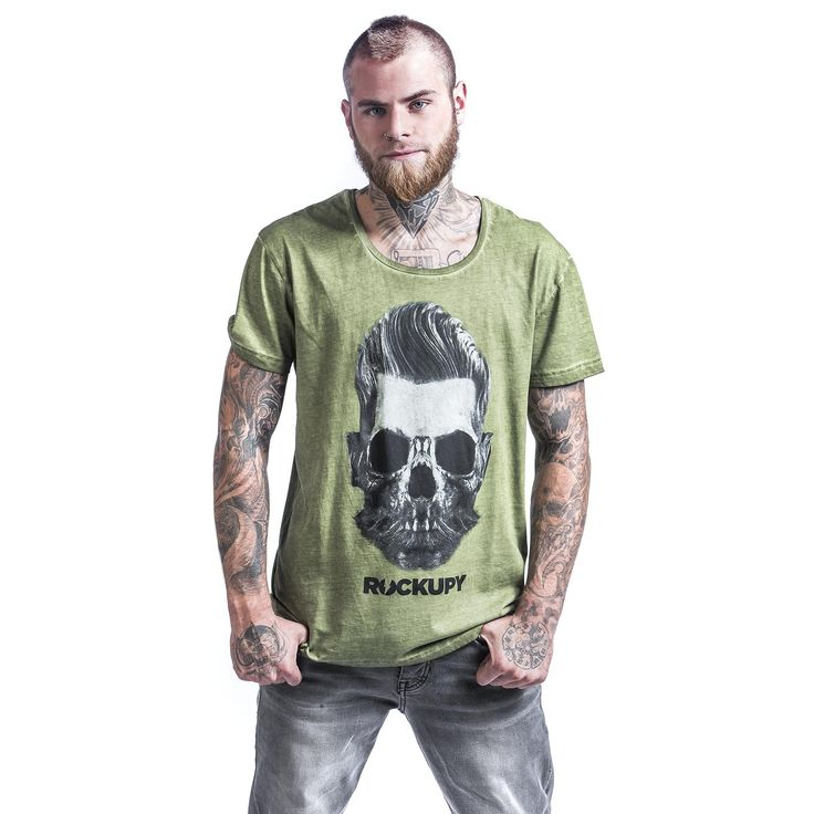 """Classica T-Shirt uomo verde """"Bearded Skull"""" del brand #Rockupy con scollo tondo, maniche arrotolate, stampa frontale e lavaggio acid."""
