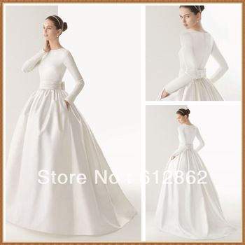 New Arriving Ball Gown Long Sleeve Satin Muslim Wedding Dress