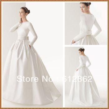 New Arriving Ball Gown Long Sleeve Satin Muslim Wedding Dress