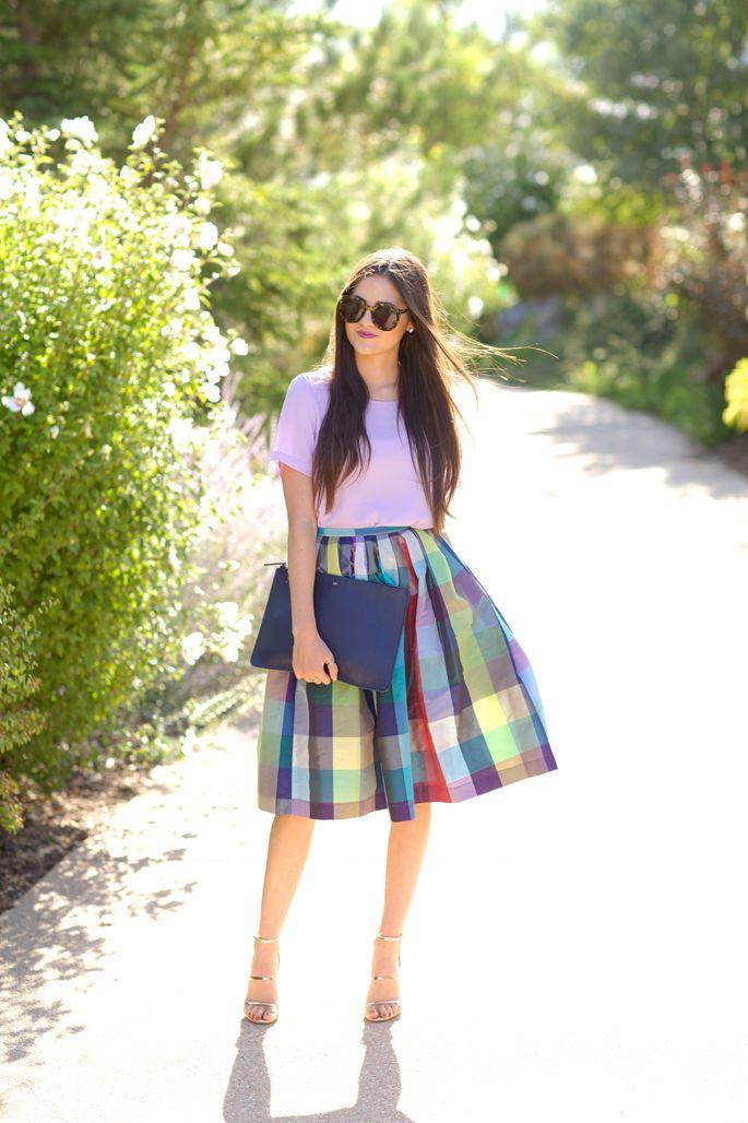 Shades of Purple, bold lip, clutch and ladylike skirts…