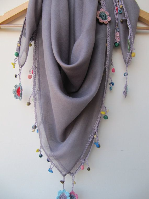 Looks east! The misty purple scarf made by bead and lace by SEVILSBAZAAR, $20.00