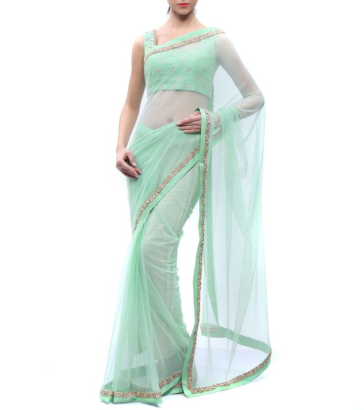 #Green #Net #Saree by #Karieshma #Sarnaa at #Indianroots                                                                                                                                                                                 More