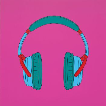 MICHAEL CRAIG-MARTIN  Untitled (headphones), 2014  Acrylic on aluminum  78 3/4 x 78 3/4 inches (200 x 200 cm)