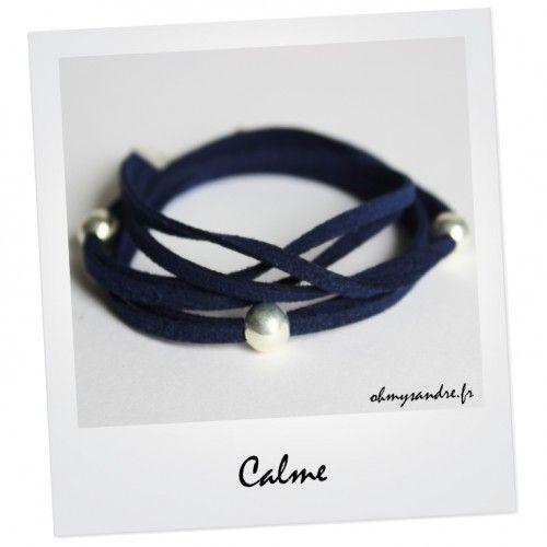 Bracelet triple liens bleus nuit et ses 3 perles argentées - Fait main