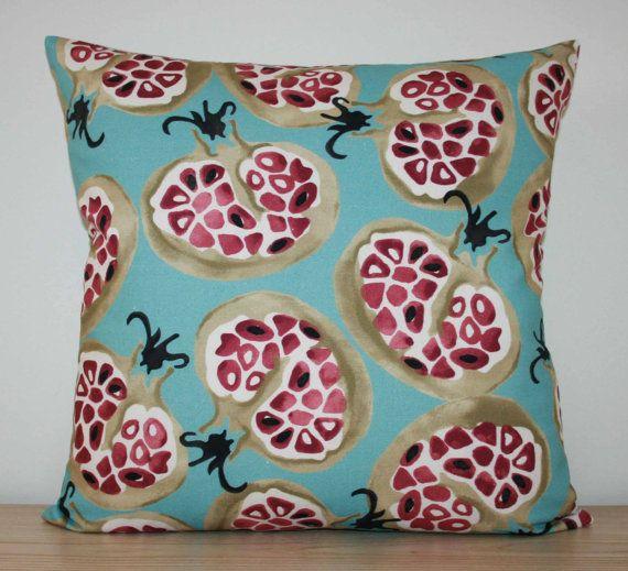 "SANDERSON EMMA BRIDGEWATER 'Pomegranate' Cushion Cover in Duck Egg / Plum - same fabric front/back - 16"" - Retro / Shabby-Chic - New"