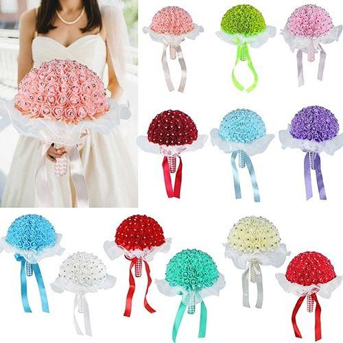 1 Bouquet Ribbon Rhinestone Artificial Foam Roses Party Wedding Bridal Flowers