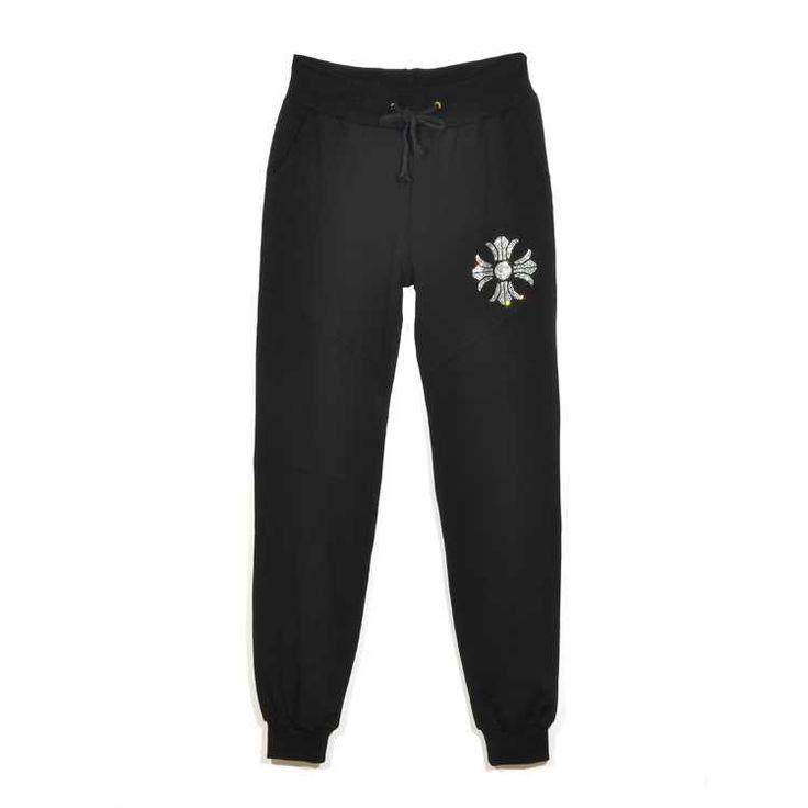 Black Chrome Hearts Diamonds Cross Cotton Pants Buy Online Store