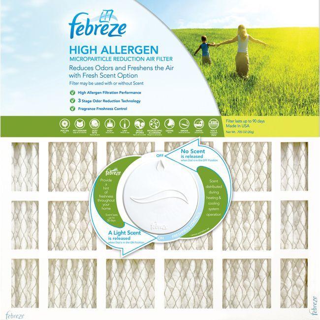 Febreze High Allergen High Capacity Electrostatic Air Filter, Grey metal
