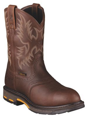 Ariat Workhog H2O Waterproof Safety Toe Pull-On Work Boots for Men - Dark Copper - 10.5 W
