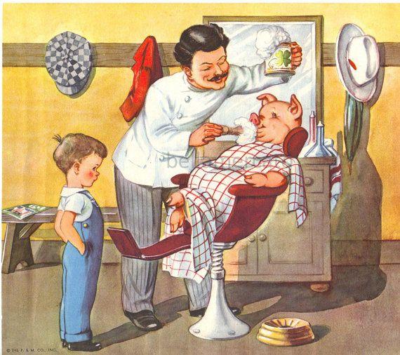 Barber Barber Shave a Pig Mother Goose Nursery Rhymes Illustration by Eulalie