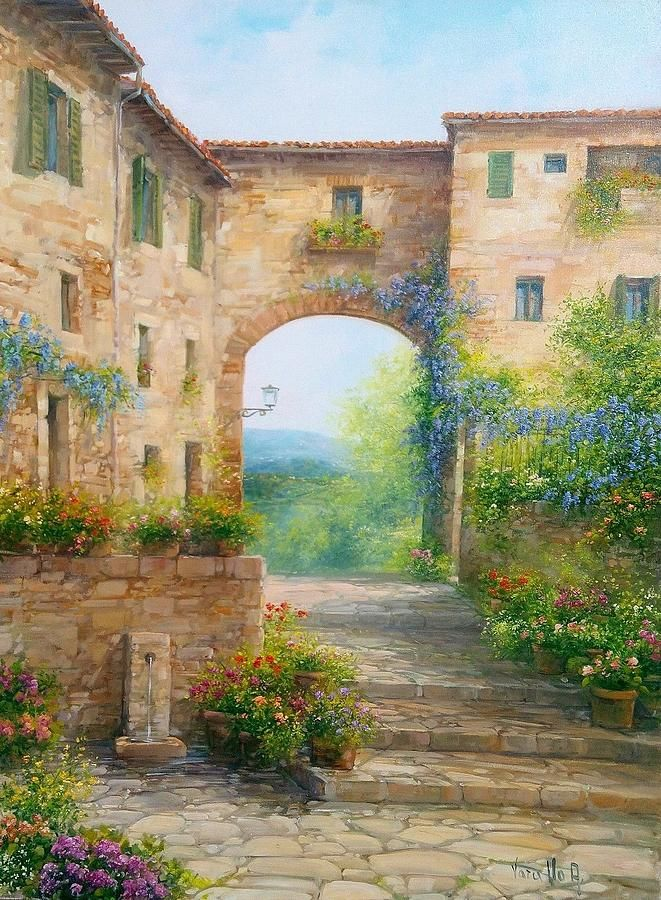 Flowers Painting - Pace In Toscana - Italy by Antonietta Varallo