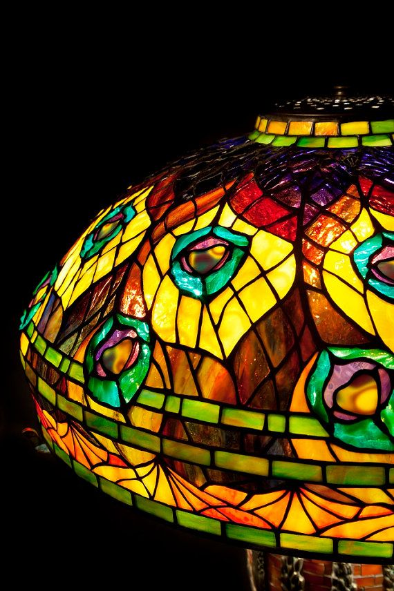 Tiffany Peacock feathers. Stained glass lamp. by WPworkshop