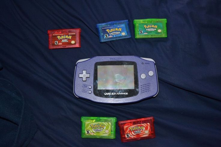 Nintendo Game Boy Advance Purple Model With Five Pokemon Games #Nintendo #Pokemon #GameBoy