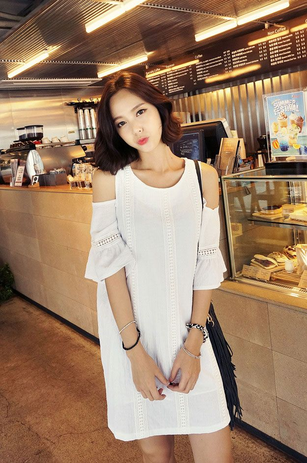 korean hair style for open shoulder half sleeve dress korean dresses 5235