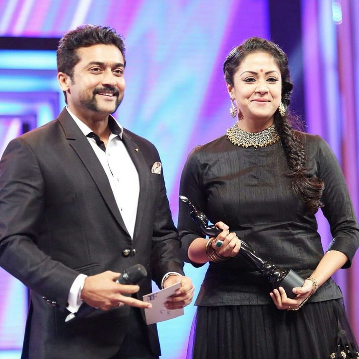 Another pic of the sweetest couple!! #Suriya #Jyotika #filmfareawards