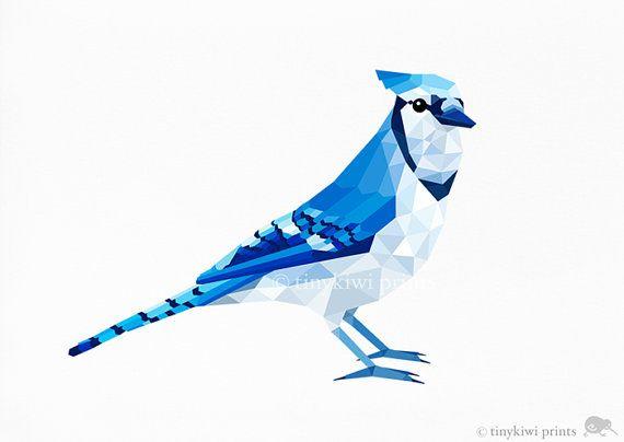 Blue Jay 1 Geometric print Original illustration por tinykiwiprints, $9.00