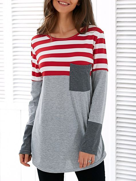 Spliced Asymmetric Striped T-Shirt