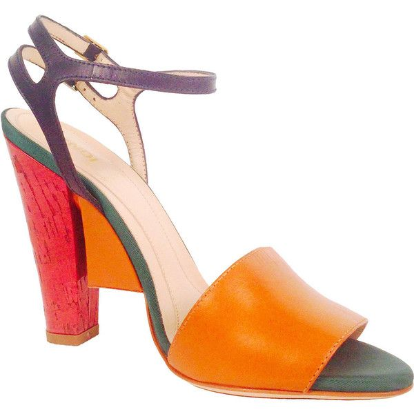 Preowned New Fendi Olive Faille Color Block Ankle Strap Sandals (€625) ❤ liked on Polyvore featuring shoes, sandals, heels, orange, fendi sandals, orange heeled sandals, orange sandals, high heel sandals and wide sandals