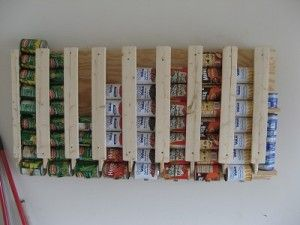Easy DIY Wall Mount Canned Food Storage - Great Way to Store MORE Food And Take Up LESS Space. :) www.rethinksurvival.com #survival #foodstorage #shtf
