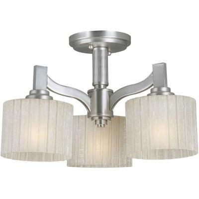 Talista Prana 3-Light Brushed Nickel Semi-Flush Mount Light with Umber Linen Glass-CLI-FRT2488-03-55 - The Home Depot