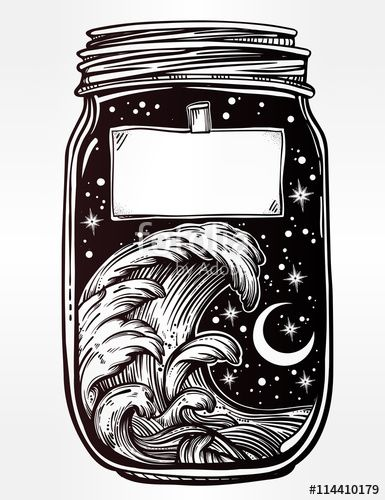 Vector: Wish jar with night sky moon and water waves.