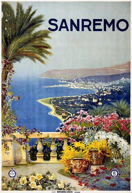 Vintage Italian Posters ~ #illustrator #Italian #vintage #posters ~ San Remo. Travel poster by Vincenzo Alicandri shows the coastline of San Remo from a terrace. Print by Barabino e Graeve, Genova, for ENIT (Ente Nazionale Italiano per il Turismo), ca. 1920.: