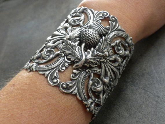 Extra Wide Silver Scottish Thistle Cuff Bracelet. $56.00, via Etsy.