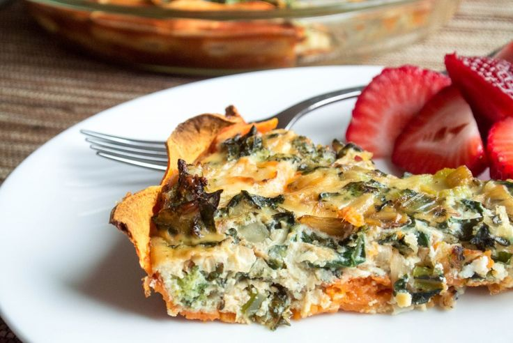 """Kale and Egg Quiche with Sweet Potato """"Crust"""" - sweet potatoes, sweet onion, lacinato kale, broccoli, garlic cloves, eggs, egg whites, miso (optional), shredded mozzarella (might reduce &/or sub another cheese), goat cheese, kosher salt & ground pepper"""
