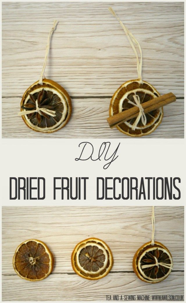 Dried fruit decorations are a fun and easy way to use natural materials to decorate for Christmas! Once you've dried the slices, all you have to do is thread them onto raffia with a button and a cinnamon stick or a piece of star anise. Lovely decorations that won't clog up lanfill! Tea and a Sewing Machine www.awilson.co.uk
