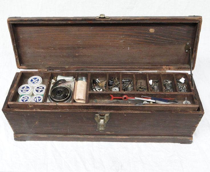 Vintage Clock Repair Portable Wood Tool Box Parts Spring Gear Screw Pin Wooden #clock #Vintage #Clockmaker #Maker #Repair #Portable #Wood #Wooden #Tool #Box #Parts #Kit #Spring #Gear #Screw #Pin 0318