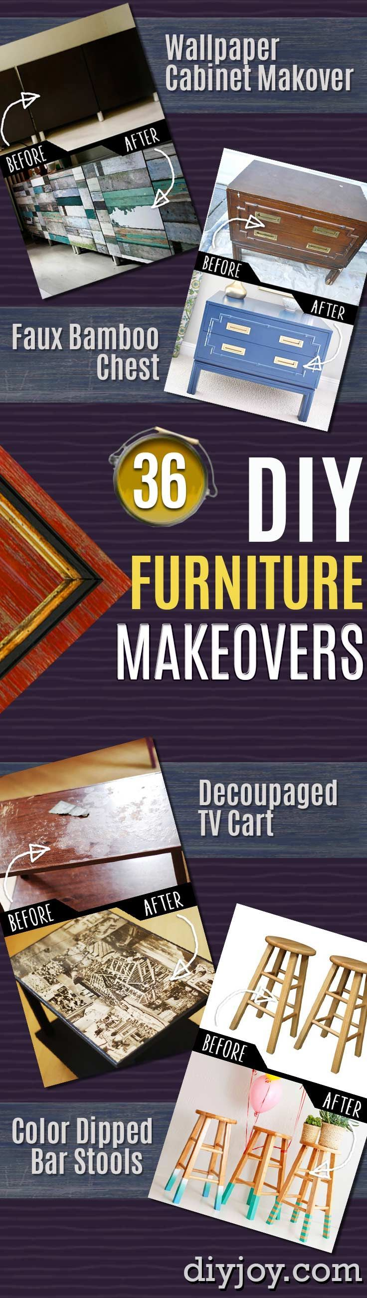 DIY Furniture Makeovers - Refurbished DIY Furniture Projects and Cool Painted Furniture Ideas for Thrift Store Furniture Makeover Projects | Best Ideas for furniture flips on Coffee Tables, Dressers and Bedroom Decor, Kitchen | Dresser, Coffee Table, End Table, Bookshelves, Chairs http://diyjoy.com/diy-furniture-makeovers